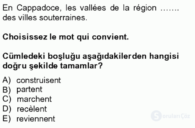 Turizm İçin Fransızca II Bahar Final 7. Soru