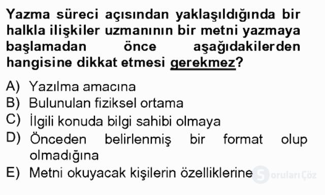 Halkla İlişkiler Yazarlığı Bahar Final 3. Soru
