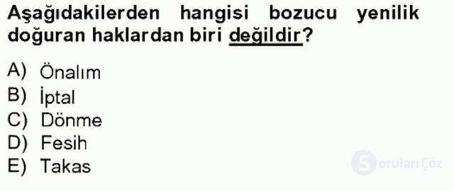 Medeni Hukuk II Bahar Final 10. Soru