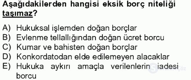 Medeni Hukuk II Bahar Final 14. Soru