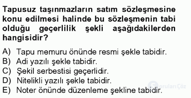 Medeni Hukuk II Bahar Final 15. Soru