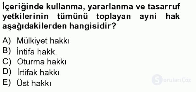 Medeni Hukuk II Bahar Final 16. Soru