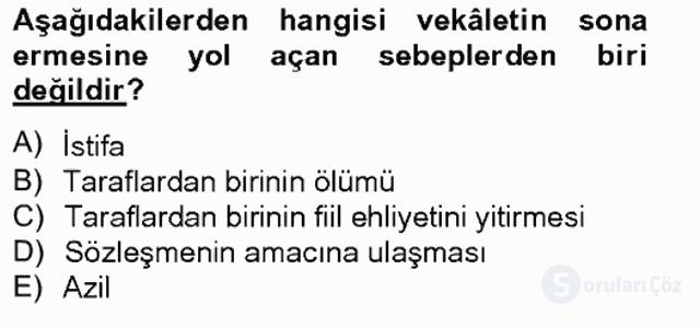 Medeni Hukuk II Bahar Final 2. Soru