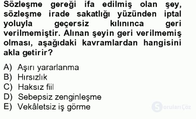 Medeni Hukuk II Bahar Final 4. Soru