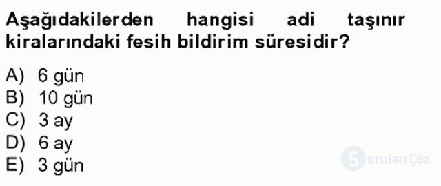 Medeni Hukuk II Bahar Final 7. Soru