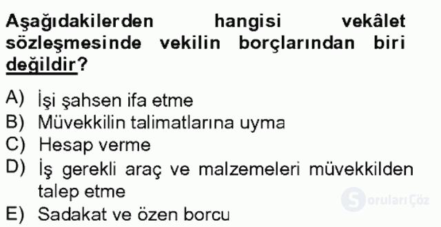 Medeni Hukuk II Bahar Final 8. Soru