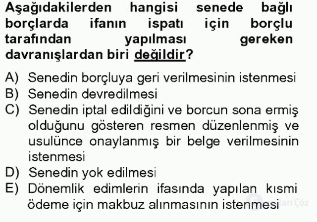Medeni Hukuk II Bahar Final 9. Soru