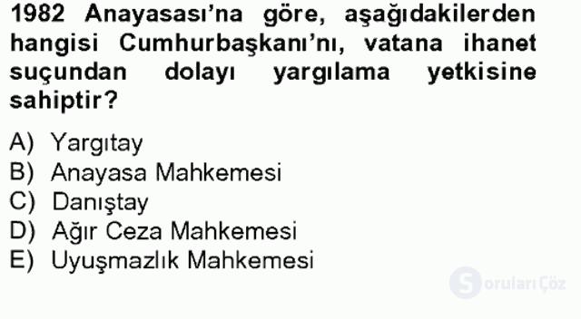 Anayasa II Bahar Final 8. Soru