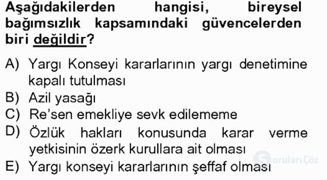 Anayasa II Bahar Final 9. Soru