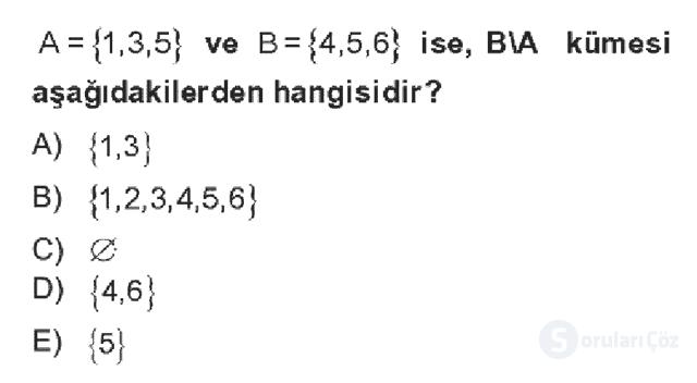 Genel Matematik Bahar Dönemi Final Final 1. Soru