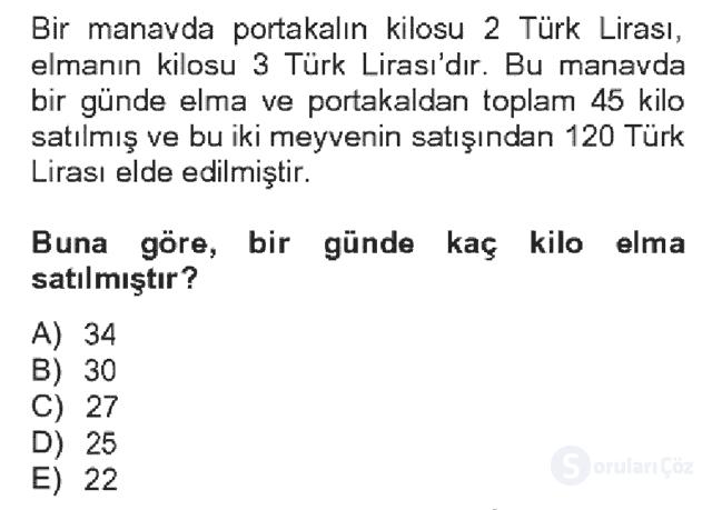 Genel Matematik Bahar Dönemi Final Final 14. Soru