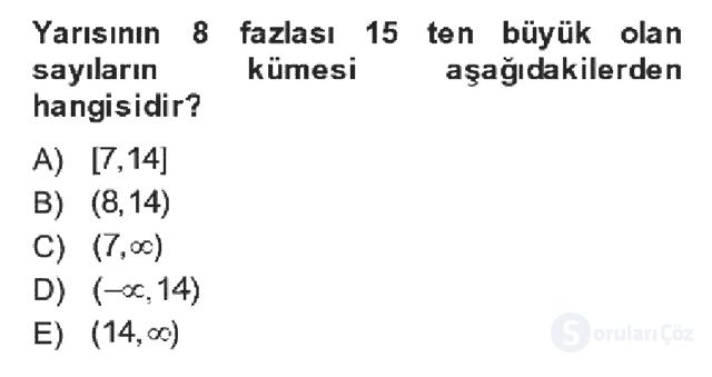 Genel Matematik Bahar Dönemi Final Final 3. Soru