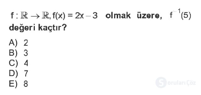 Genel Matematik Bahar Dönemi Final Final 5. Soru