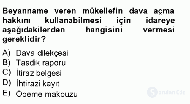 Vergi Usul Hukuku Bahar Final 16. Soru