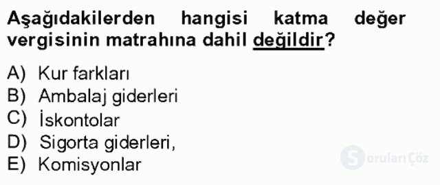Özel Vergi Hukuku II Bahar Final 10. Soru