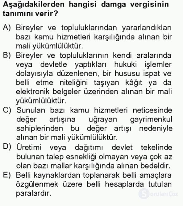 Özel Vergi Hukuku II Bahar Final 17. Soru