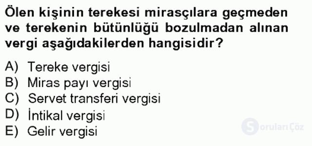 Özel Vergi Hukuku II Bahar Final 19. Soru