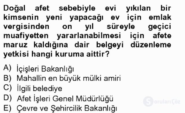 Özel Vergi Hukuku II Bahar Final 2. Soru