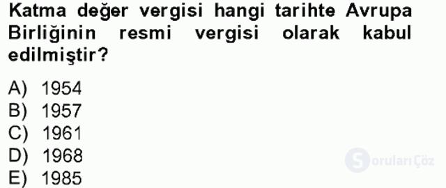 Özel Vergi Hukuku II Bahar Final 3. Soru