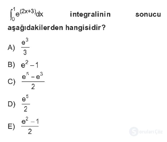 Matematik II Bahar Dönemi Final Final 1. Soru