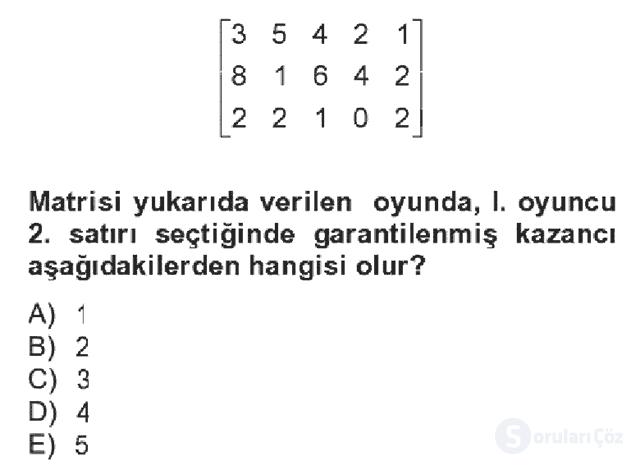 Matematik II Bahar Dönemi Final Final 18. Soru