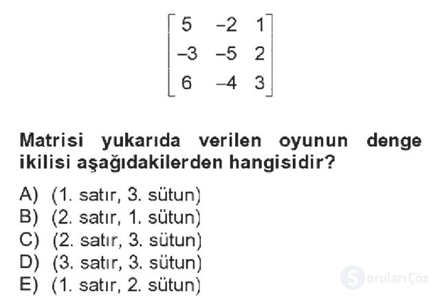 Matematik II Bahar Dönemi Final Final 19. Soru