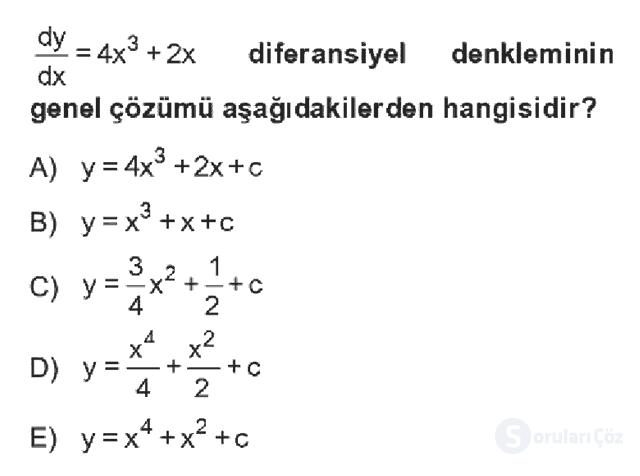Matematik II Bahar Dönemi Final Final 3. Soru