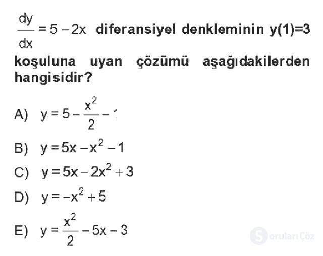 Matematik II Bahar Dönemi Final Final 4. Soru