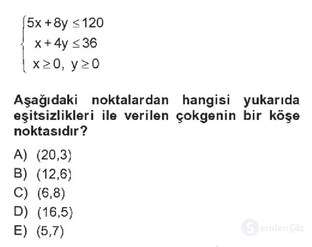 Matematik II Bahar Dönemi Final Final 5. Soru