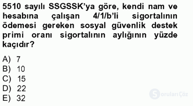 Sosyal Güvenlik Hukuku Bahar Final 13. Soru