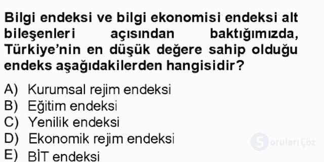 Bilgi Ekonomisi Bahar Final 7. Soru