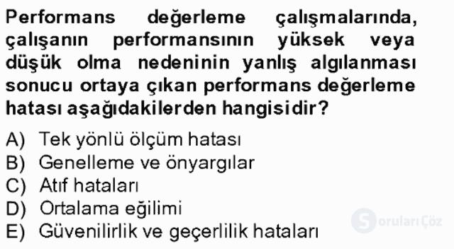 Performans Yönetimi Bahar Final 18. Soru