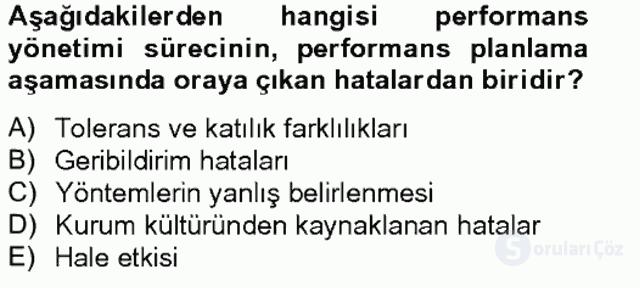 Performans Yönetimi Bahar Final 20. Soru