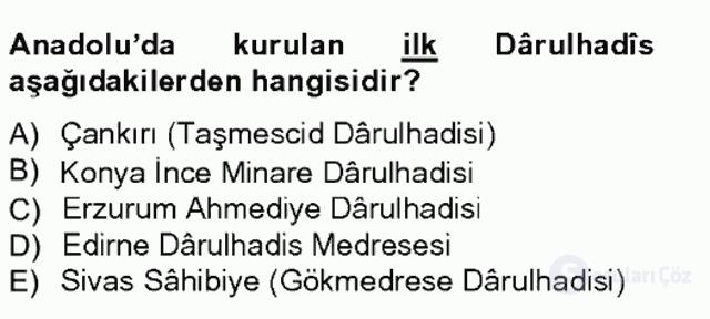 Hadis Tarihi ve Usulü Bahar Final 6. Soru
