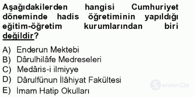 Hadis Tarihi ve Usulü Bahar Final 7. Soru