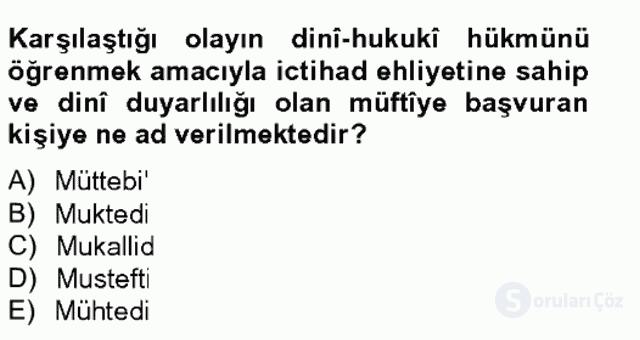 İslâm Hukukuna Giriş Bahar Final 11. Soru