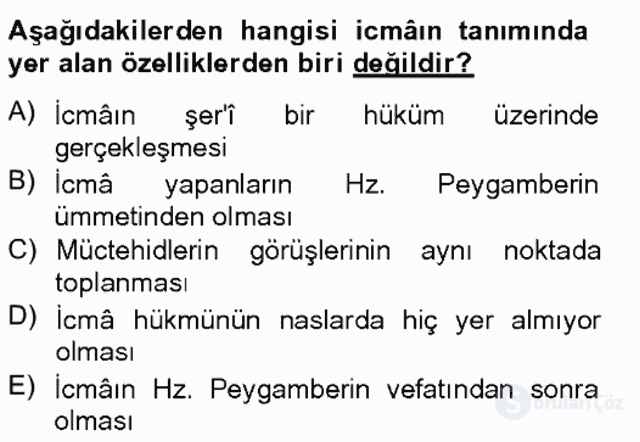 İslâm Hukukuna Giriş Bahar Final 4. Soru