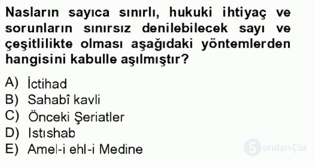İslâm Hukukuna Giriş Bahar Final 8. Soru