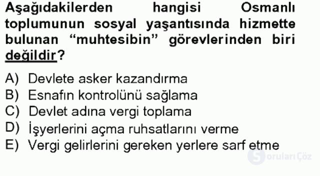 İslâm Kurumları ve Medeniyeti Bahar Final 11. Soru