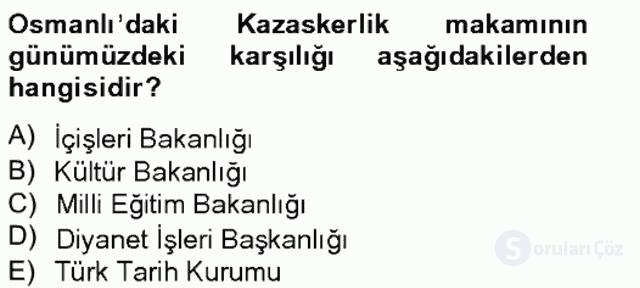 İslâm Kurumları ve Medeniyeti Bahar Final 18. Soru