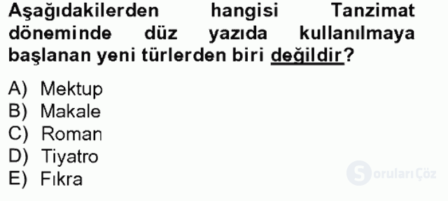 Türk İslâm Edebiyatı Bahar Final 1. Soru