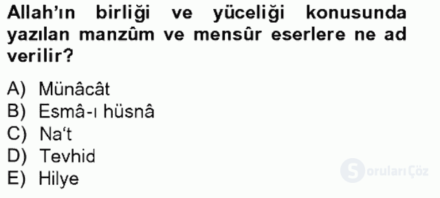 Türk İslâm Edebiyatı Bahar Final 12. Soru