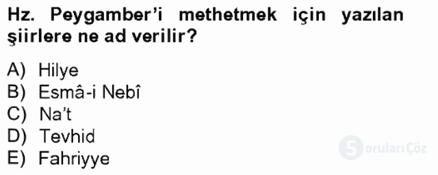 Türk İslâm Edebiyatı Bahar Final 16. Soru