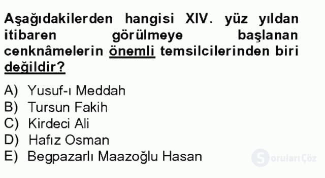 Türk İslâm Edebiyatı Bahar Final 17. Soru