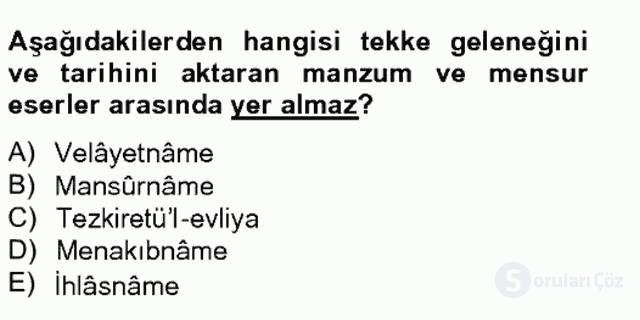 Türk İslâm Edebiyatı Bahar Final 19. Soru