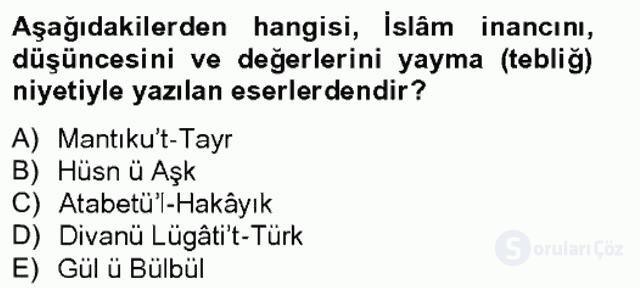 Türk İslâm Edebiyatı Bahar Final 2. Soru
