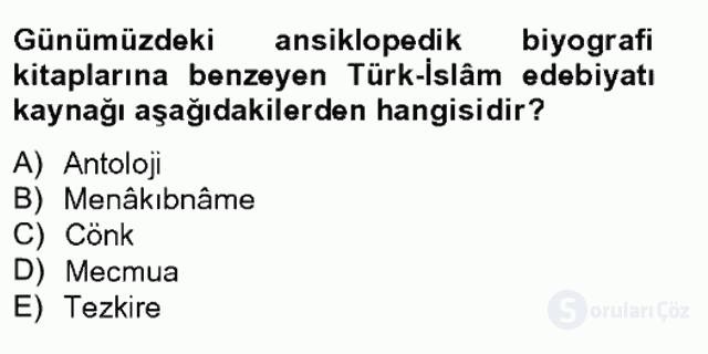 Türk İslâm Edebiyatı Bahar Final 3. Soru