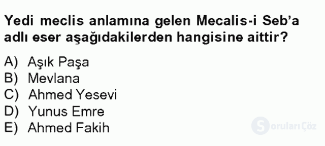 Türk İslâm Edebiyatı Bahar Final 6. Soru