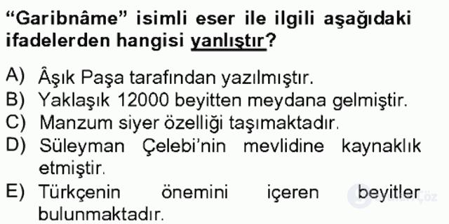 Türk İslâm Edebiyatı Bahar Final 7. Soru