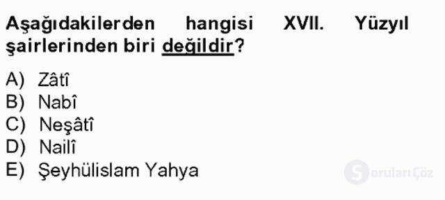 Türk İslâm Edebiyatı Bahar Final 9. Soru